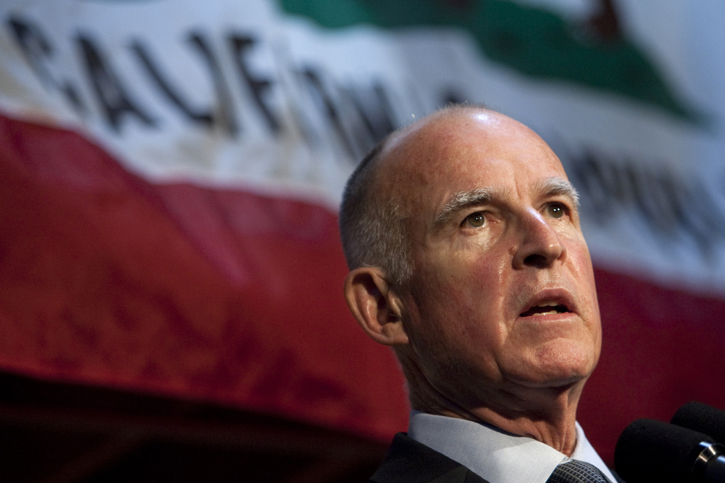 File: California then-Governor-elect Jerry Brown speaks during a press conference at his campaign headquarters on Nov. 3, 2010 in Oakland, California.