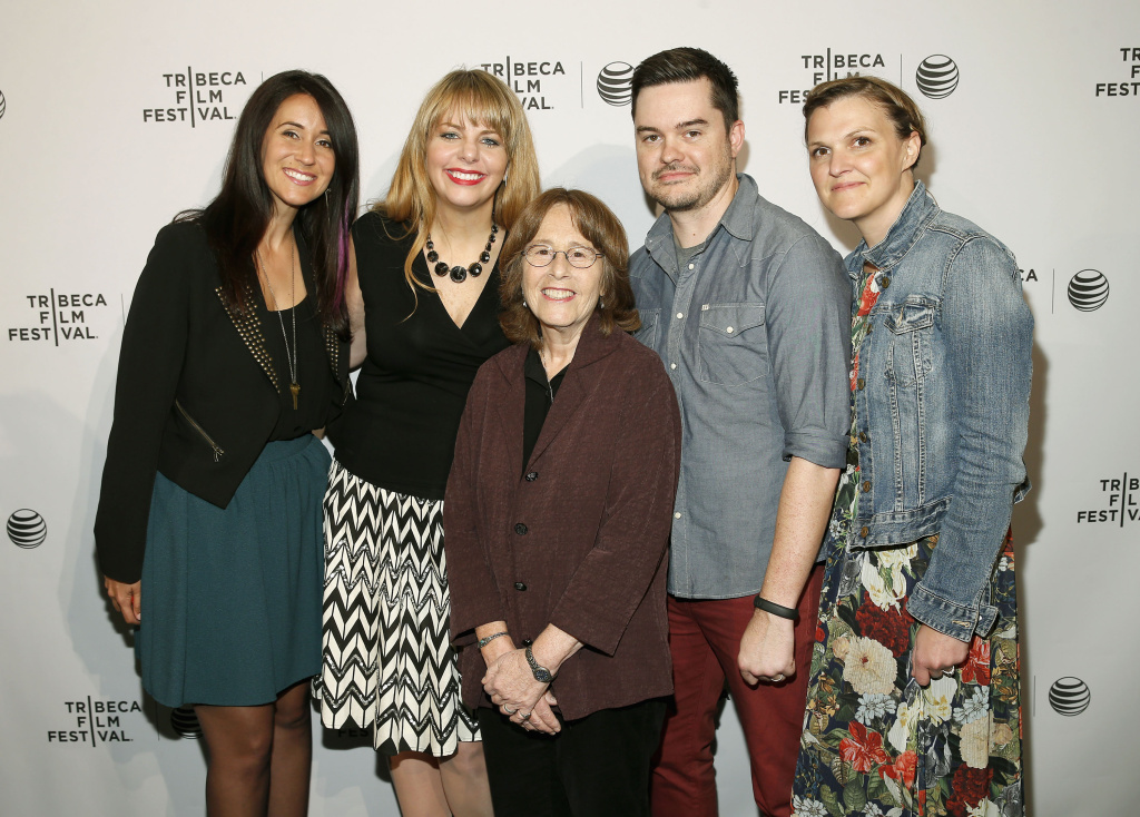 NEW YORK, NY - APRIL 18:  (L-R) Filmmakers Kristen Irving, Olivia Klaus, Micki Dickoff, Sunny Peabody and Ann-Caryn Cleveland of