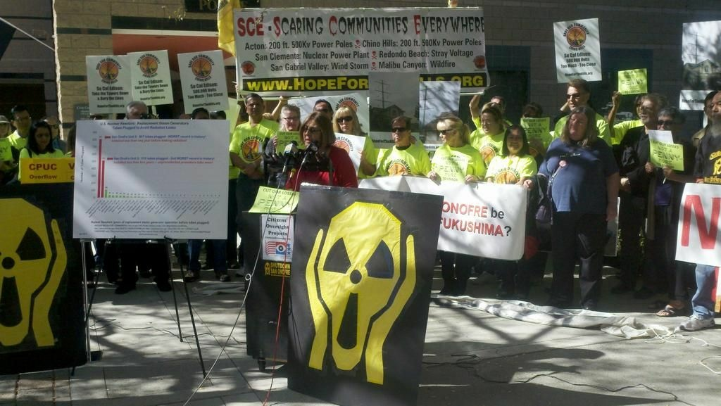 Anti-nuclear activists make their case against San Onofre outside a California Public Utility Commission meeting in Irvine. Photo: Ben Bergman/KPCC