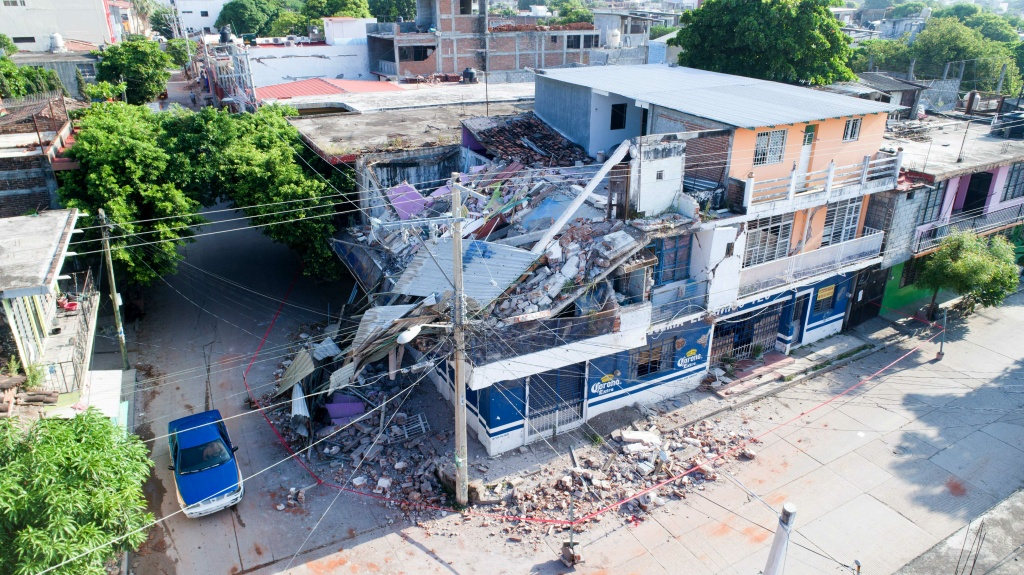 A view of buildings that collapsed during a 8.1-magnitude quake in Juchitan de Zaragoza, Oaxaca on September 7, 2017.