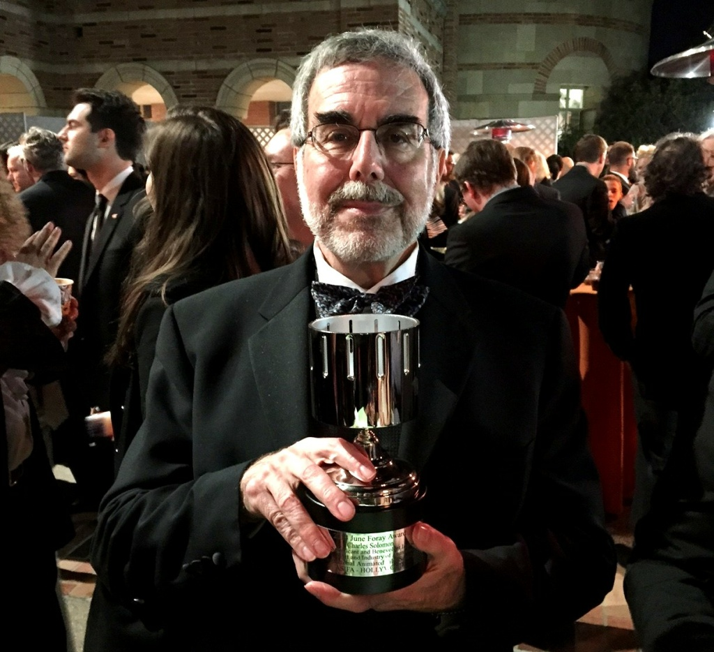 Charles Solomon, animation expert, and his June Foray Annie award, at Saturday night's 42nd Annie Awards, at UCLA's Royce Hall