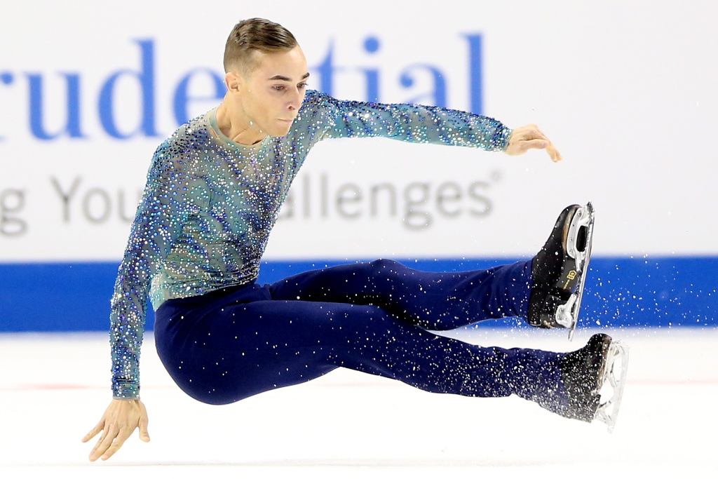 Adam Rippon falls while competing in the Men's Free Skate during the 2018 Prudential U.S. Figure Skating Championships at the SAP Center on January 6, 2018 in San Jose, California.