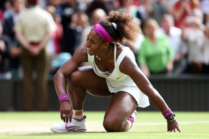 Serena WIlliams reacts to her Wimbledon victory, July 7, 2012.