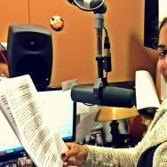 Chaya Leah Esakhan reading her story in the Off-Ramp studio at KPCC.