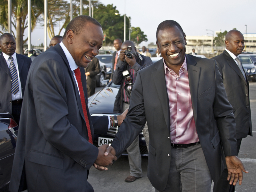 The chief prosecutor of the International Criminal Court has dropped all charges of crimes against humanity against Kenyan President Uhuru Kenyatta (left), but the charges against his deputy, William Ruto, right, still stand. Kenyatta said he was relieved by the decision, adding he was confident Ruto would be vindicated.
