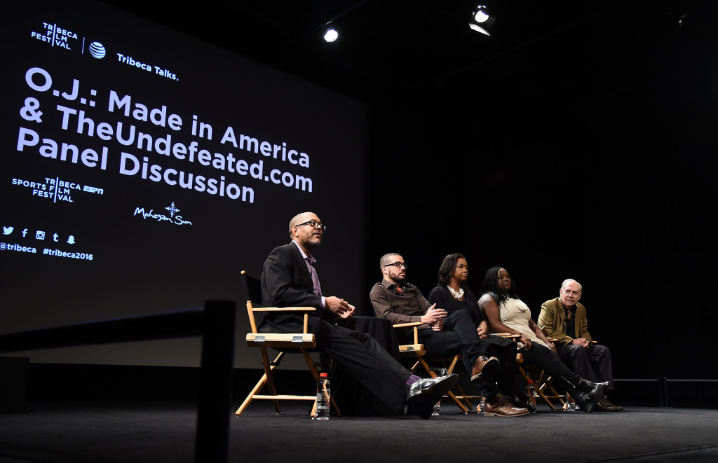 (L-R) Kevin Merida, Ezra Edelman, Raina Kelly, Kelley Carter and Robert Lipsyte speak during Tribeca Talks: O.J.: Made In America TheUndefeated.com Panel Discussion on April 24, 2016.