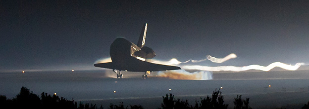 Space shuttle Atlantis lands for the final time at NASA's Kennedy Space Center in Florida.