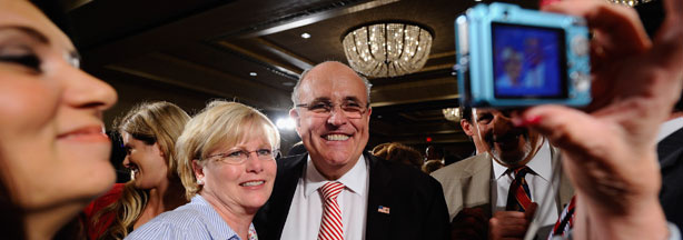Former New York City Mayor Rudy Giuliani has his picture taken after a campaign event for California Republican Party gubernatorial candidate Meg Whitman on October 10, 2010 in Van Nuys, California.