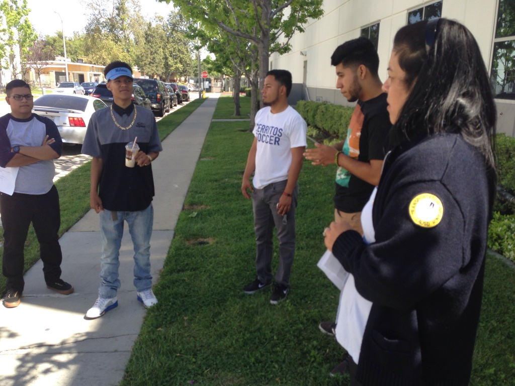 File photo: Students of WyoTech in Long Beach, a Corinthian Colleges campus, gather at their campus to find out what will happen after their school closed suddenly on April 27, 2015.