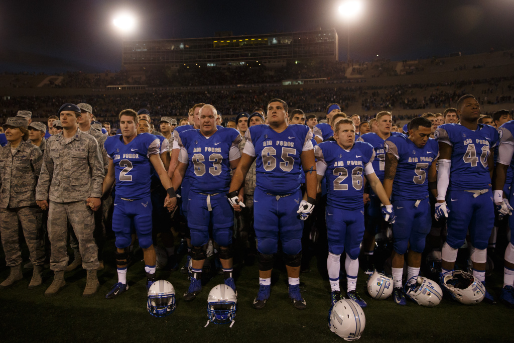 The Air Force Falcons sing the Alma Mater after defeating the Colorado State Rams.