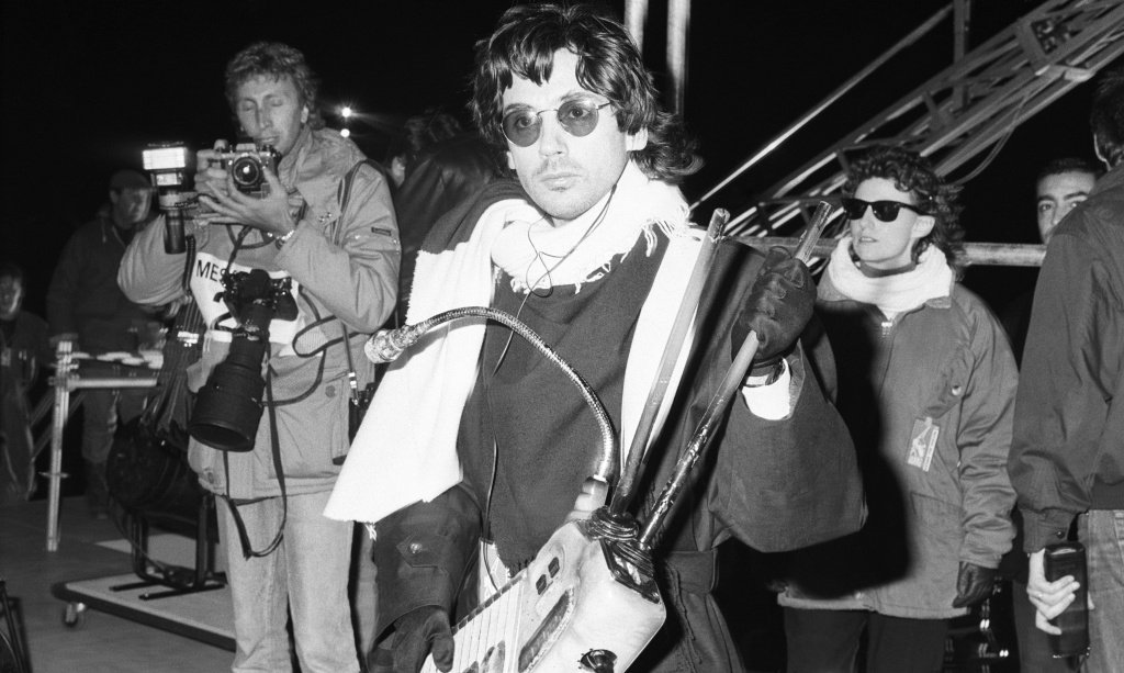 Jean Michel Jarre, musician and producer, pictured holding a musicial instrument, 12th October 1988.
