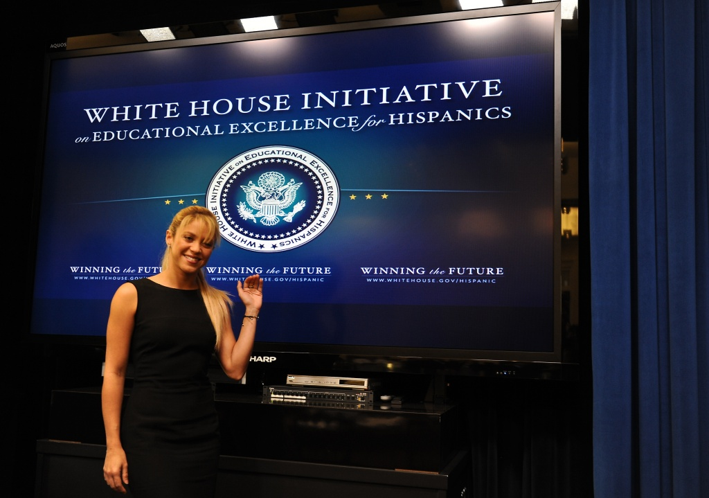 Colombian singer Shakira takes part in the President's Advisory Commission of the White House Initiative on Educational Excellence for Hispanics in Washington on October 6, 2011.