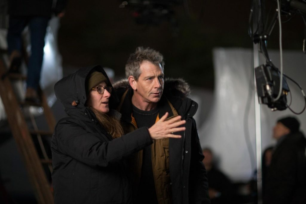 Writer-director Nicole Holofcener with actor Ben Mendelsohn on the set of
