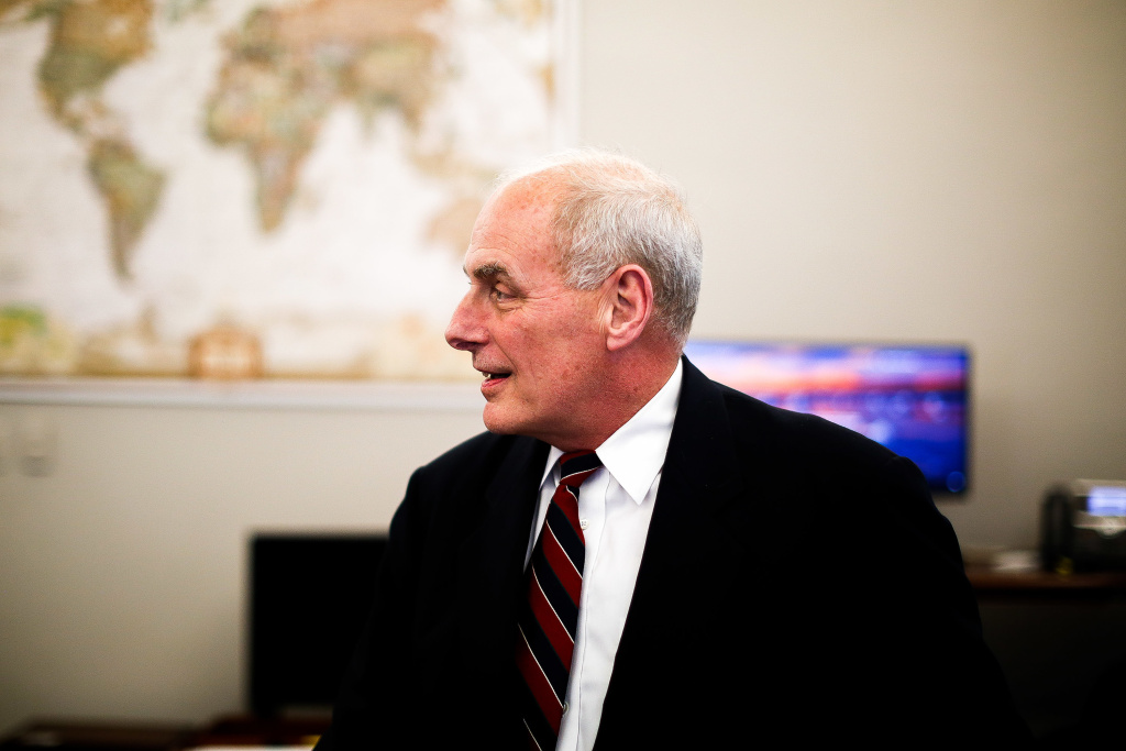 White House Chief of Staff John Kelly in his office in the West Wing.
