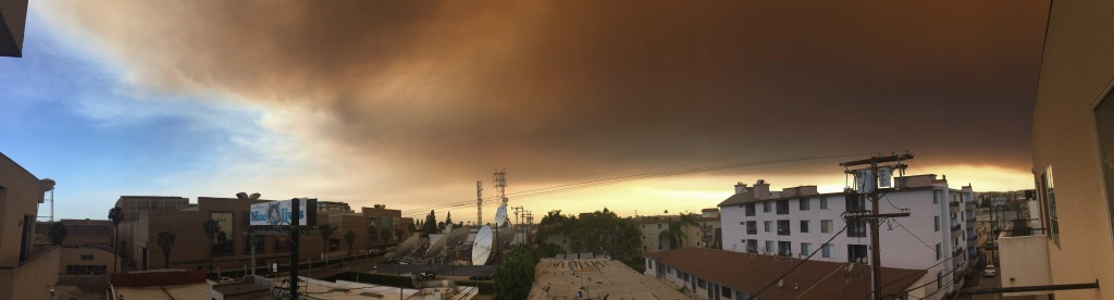 Sat., July 23: A panoramic image of the Culver City skyline, darkened by smoke from the Sand Fire.