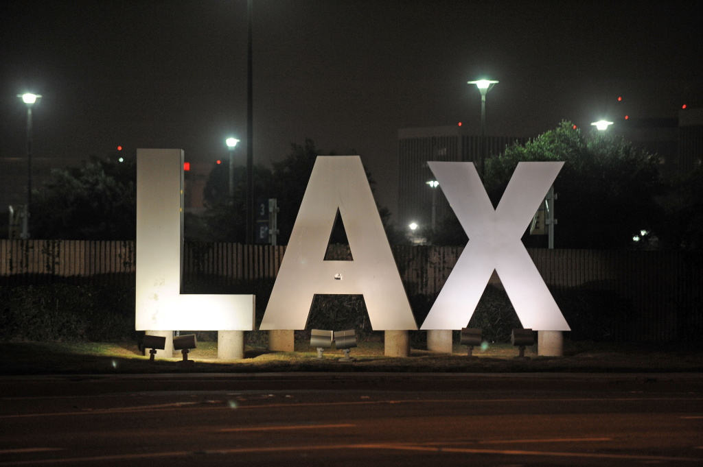 A sign at the entrance of Los Angeles International Airport in Los Angeles.