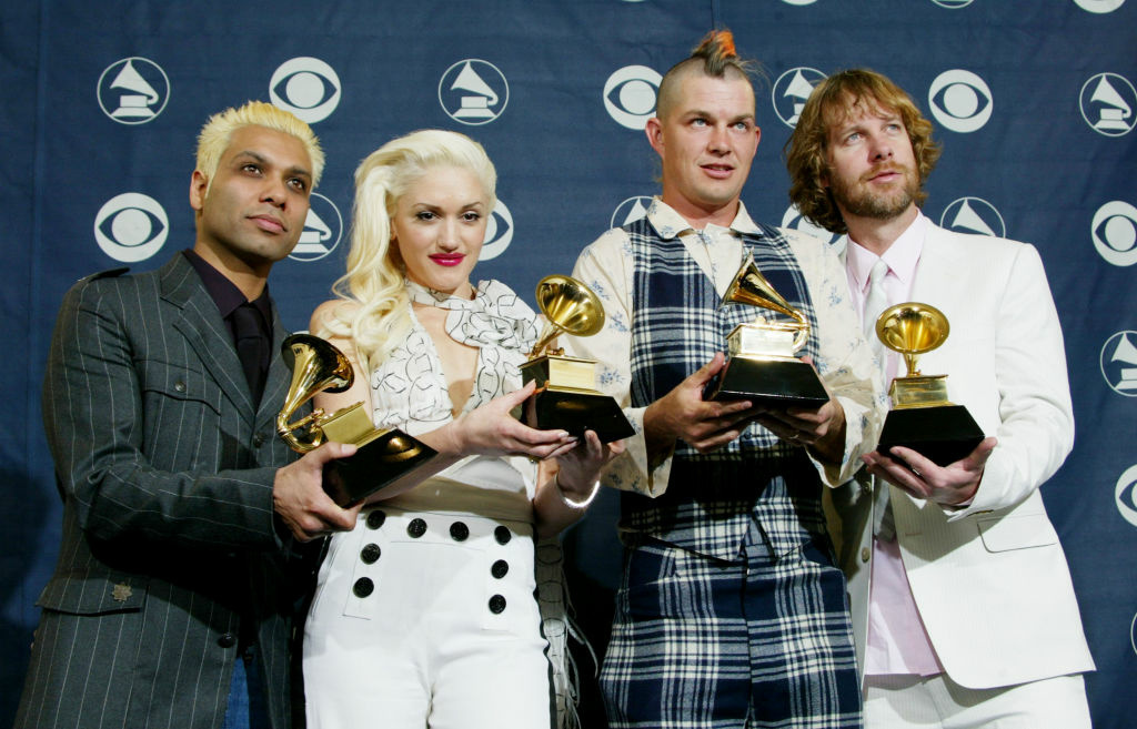 Tony Kanal, Gwen Stefani, Adrian Young, Tom Dumont of No Doubt at the 2004 Grammy Awards.