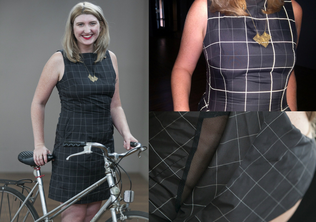 Maura Walz wears a biking dress made by Vespertine.