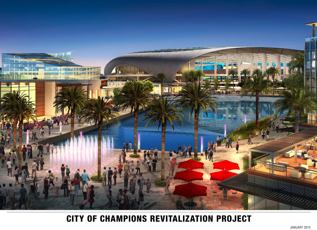 File: A rendering of he new stadium and complex to be built near the Forum in Inglewood was released by the Hollywood Park Land Company, Kroenke Group and Stockbridge Capital Group. The developers behind a sprawling sports and housing complex in the Los Angeles suburbs expect to recoup up to $100 million in local tax dollars in the first five years of operation.