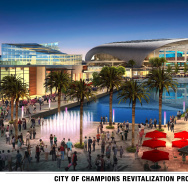 A rendering of he new stadium and complex to be built near the Forum in Inglewood was released by the Hollywood Park Land Company, Kroenke Group and Stockbridge Capital Group earlier this month.