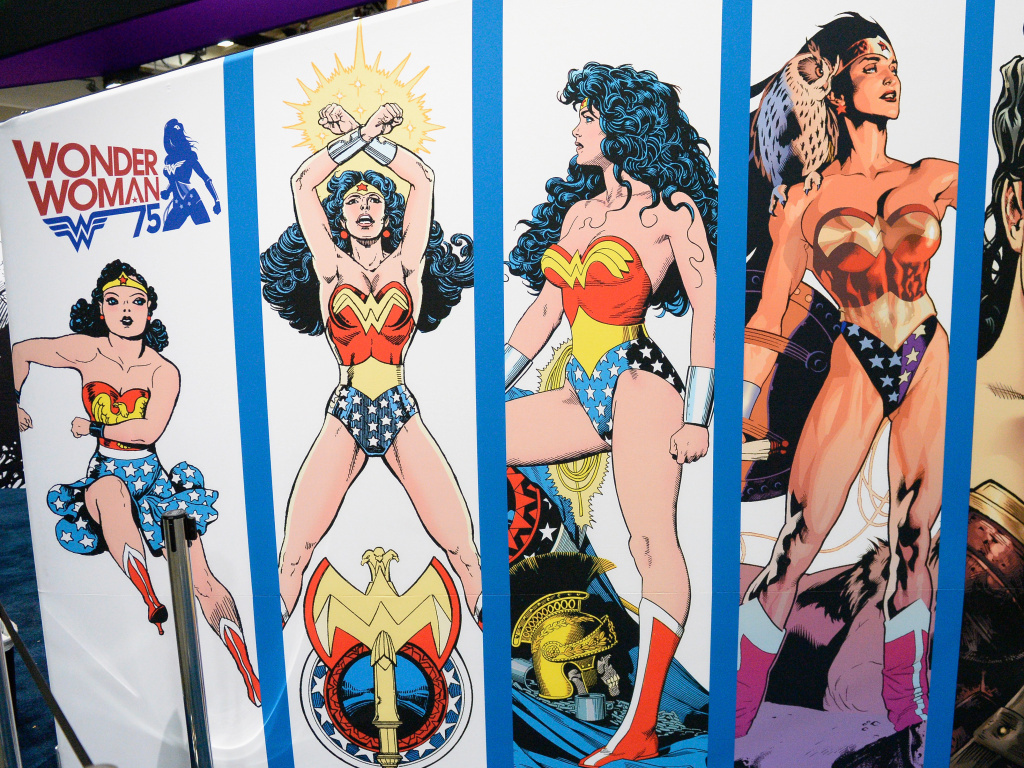 A Wonder Woman display at Comic-Con International on July 20, 2016.