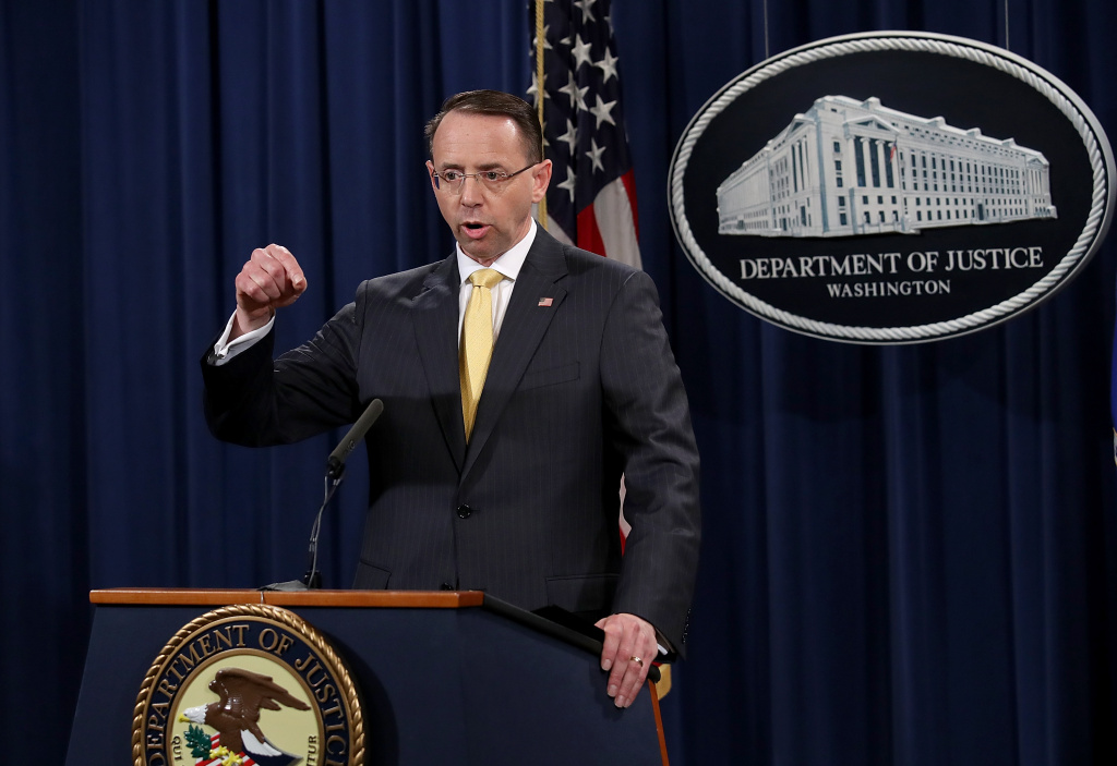 U.S. Deputy Attorney General Rod Rosenstein announces the indictment of 13 Russian nationals and 3 Russian organizations for meddling in the 2016 U.S. presidential election February 16, 2018 at the Justice Department in Washington, D.C.