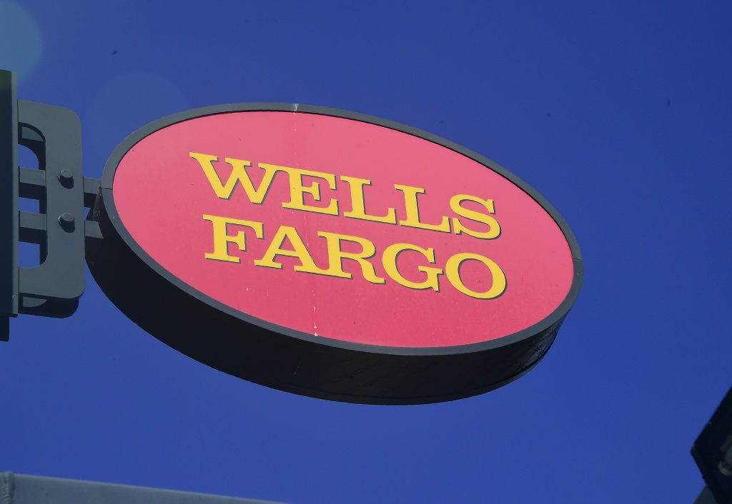 A Wells Fargo sign is seen in front of a branch in Pasadena, California on September 28, 2016.
