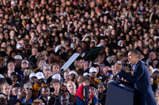 File photo: President Barack Obama speaks during a rally for the Democratic National Committee at Ohio State University in Columbus, Ohio, October 17, 2010.
