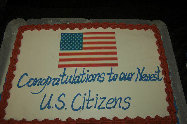 A cake at a U.S. military naturalization ceremony in Korea, December 2008