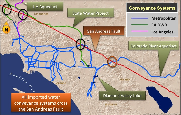 A Graphic Showing Where The Aqueducts Cross The San Andreas Fault Image Metropolitan Water District