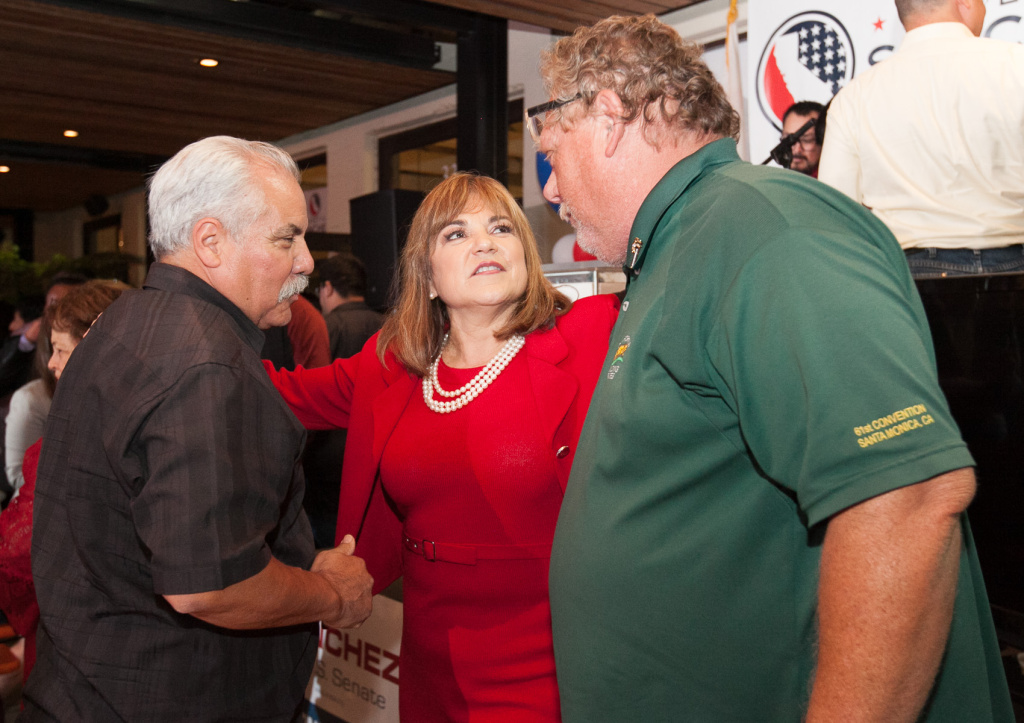 File photo: Loretta Sanchez greets her supporters from the Ironworkers Union on the night of the California primary election in Anaheim, California, on Tuesday, June 7, 2016.