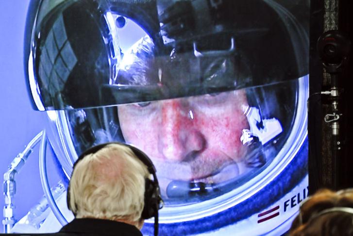A screenshot of Felix Baumgartner jumping from the stratosphere, October 14, 2012.