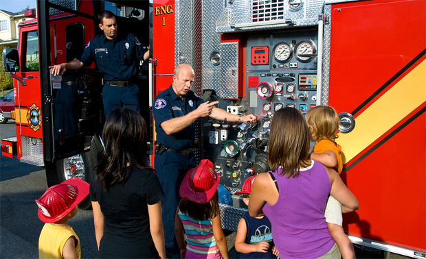 Local fire and police departments participate in National Night Out, August 4, 2009 in Washington.
