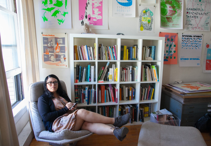 Poet and writer Dolores Dorantes in the artist resident space above Machine Project in Echo Park, Los Angeles, on Friday, June 19, 2015.