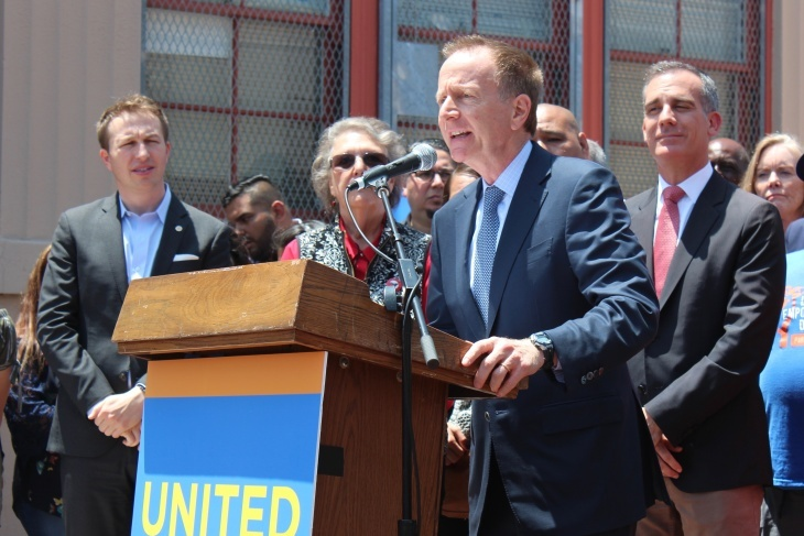 Los Angeles Unified School District Superintendent Austin Beutner (center) delivers remarks at a press conference on June 5, 2019