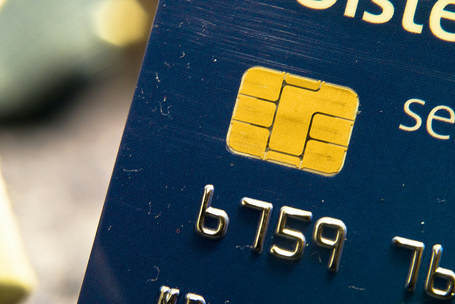 An EMV chip embedded on a credit card.