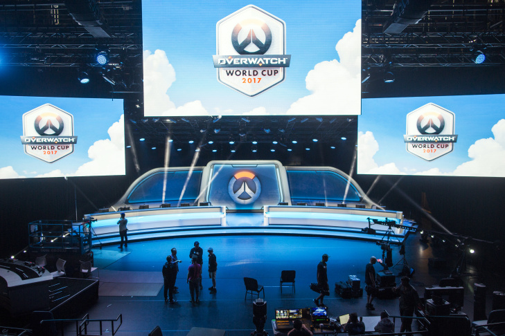 Crews prep the main stage for this weekend's Overwatch contender playoffs at the new Blizzard Arena in Burbank.