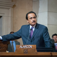 Former Los Angeles City Councilman Richard Alarcon was convicted of four felonies Wednesday for lying about where he lived while he served on the council.