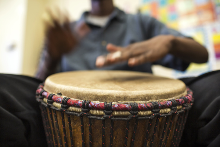 Students take part in a drumming class at Camp Afflerbaugh, a juvenile detention facility in La Verne, on Wednesday afternoon, May 4, 2016. The class is put on by the Rhythm Arts Alliance and Arts for Incarcerated Youth Network.
