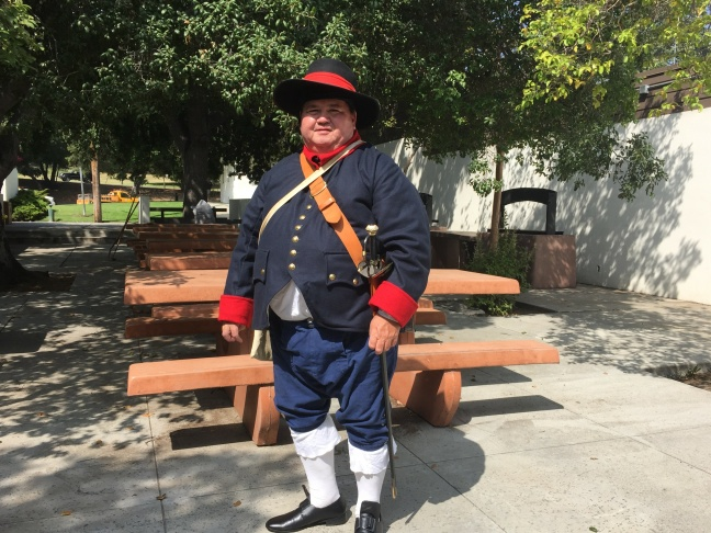 Jon Reed has been involved in historical reenactments since a friend brought him to a Civil War event in 1977. He's dressed as a typical Spanish soldier of 1776, when the Anza Expedition hit Los Angeles on its way to San Francisco.