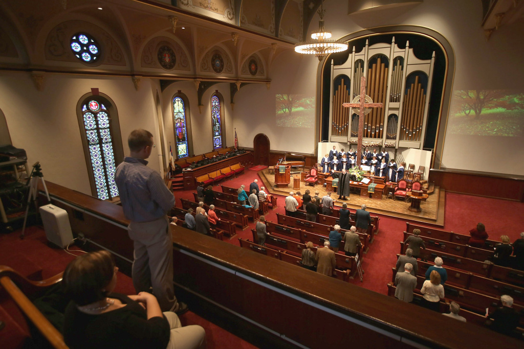 File: Congregation members attend a Sunday service at the First Presbyterian Church on October 28, 2012 in Warren, Ohio.
