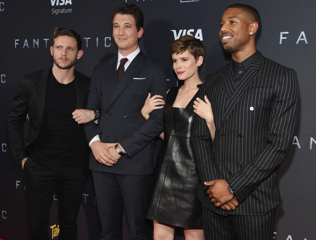 NEW YORK, NY - AUGUST 04: Actors Jamie Bell, Miles Teller, Kate Mara, and Michael B. Jordan attend the New York premiere of