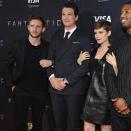 "Actors Jamie Bell, Miles Teller, Kate Mara, and Michael B. Jordan attend the New York premiere of ""Fantastic Four"" at Williamsburg Cinemas on August 4, 2015 in New York City."
