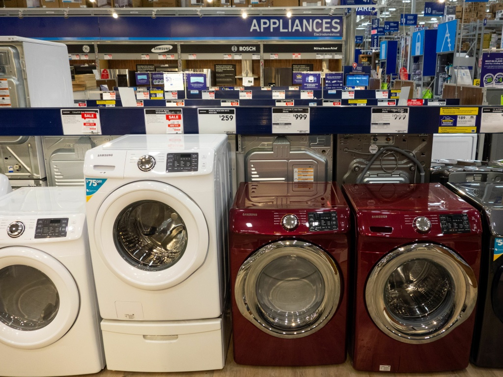 Washing machines, dryers and other appliances are seen for sale at a Lowe's home improvement store in Washington, D.C., Sept. 27, 2018.