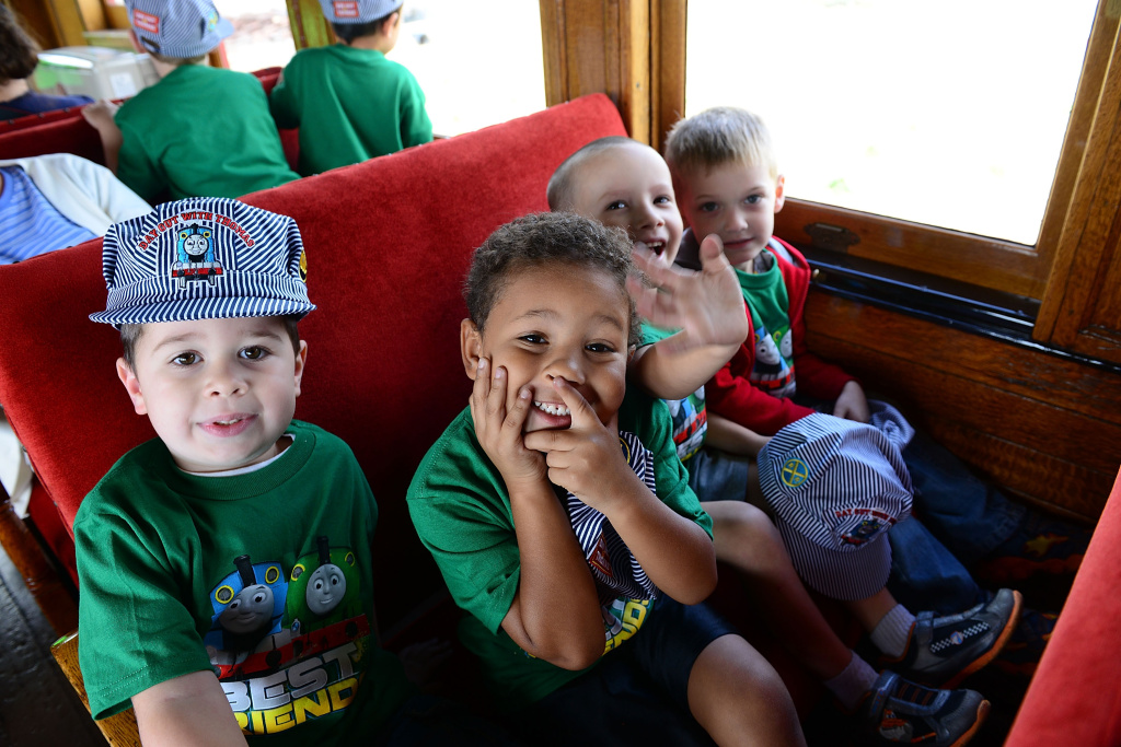 Thomas the Tank Engine fans take the first ride on new engine Percy during the Thomas & Friends: A Day Out with Thomas Tour 2014 at Strasburg Rail Road Museum on September 12, 2014 in Lancaster County, Pennsylvania.