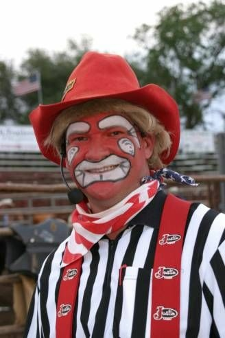 Mike Hayhurst in full rodeo clown costume