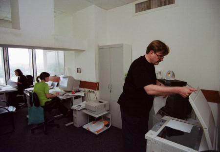 Workers at an office in Russia