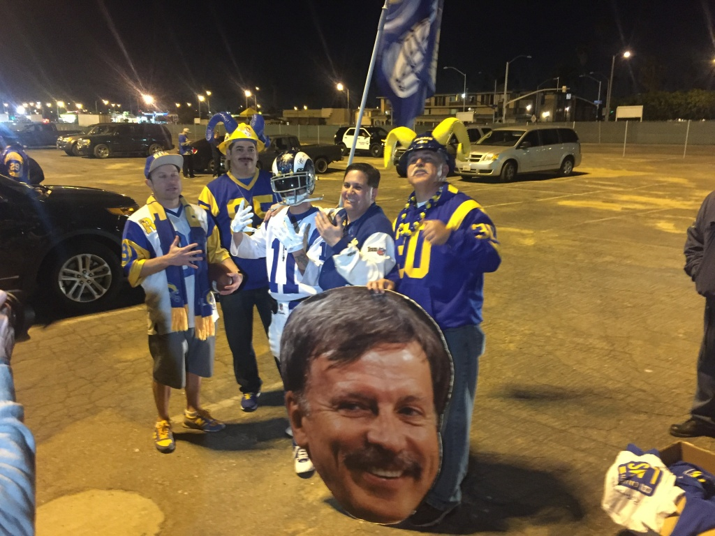 Rams fans rally at the Hollywood Park Casino in Inglewood Tuesday night, where revelers were decked out in blue and gold Rams jerseys and T-shirts.