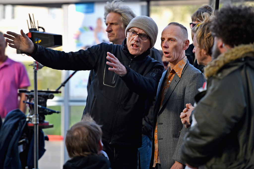 Director Danny Boyle and actor Ewan Bremner, on the set of the Trainspotting  film sequel in Muirhouse shopping centre on May 11, 2016 in Edinburgh, Scotland. The long awaited Trainspotting 2 is being filmed in Edinburgh and Glasgow, 20 years after the original was released it will also see the cast from the first film returning including Ewan McGregor, Jonny Lee Miller and Robert Carlyle.