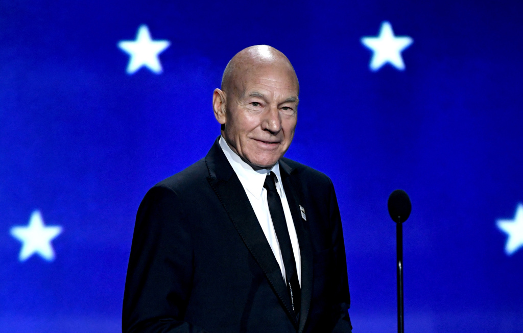 Actor Patrick Stewart speaks onstage during The 23rd Annual Critics' Choice Awards at Barker Hangar on January 11, 2018 in Santa Monica, California.